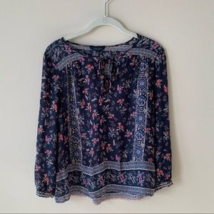Lucky Brand Keyhole Tie-front Textile Blouse